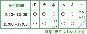 受付時間は、平日は9時から12時、15時から19時です。ただし、水曜日は9時から12時、15時から17時まで、土曜は9時から14時まで、日・祝は休みです。
